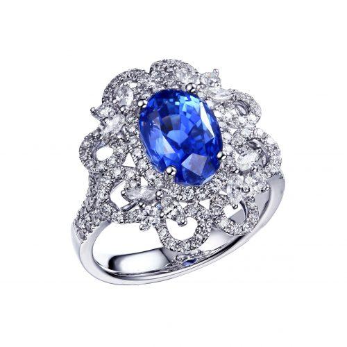 Sapphire prsten biele zlato - kópia